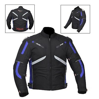 Blue/Black Men's Waterproof Genuine Motorbike Motorcycle Cordura Jacket CE