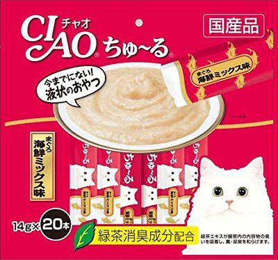 INABA CIAO Catfood Churu Cat Lick Snacks Fillet Tuna seafood mix 14g x 20p*