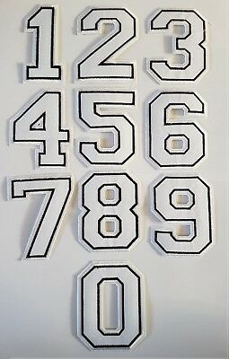Number Digit Iron On Patch 0 1 2 3 4 5 6 7 8 9 Large White Iron on Digit Patches