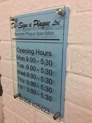 Opening hours times - A4 Shop Window Door Vinyl Sign Sticker Customised Blue