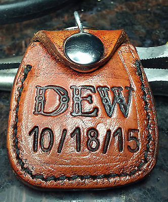 Custom *AA *NA Handmade Leather Recovery Coin Holder Keychain * Ur Init'ls&Date
