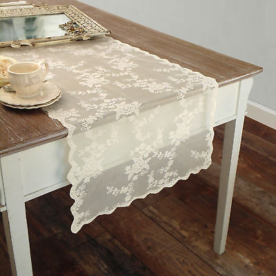 Runner Pizzo Poliestere Shabby chic Poly-Ciel Collection Colore Avorio