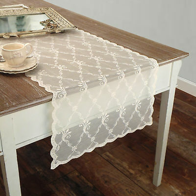 Runner Pizzo Poliestere Shabby chic Poly-Astre Collection Colore Avorio