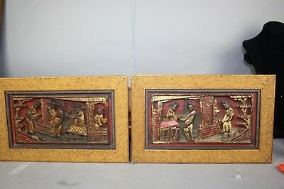 18th/19th C. Chinese Pair Gilt Wooden Carved Figural Panels