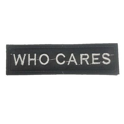 WHO CARES Iron On Patch Who Cares Text Biker Motorcycle Sew on transfer