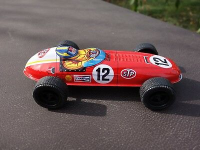 Vintage 1970s Tin Lithograph Friction Driven Race Car From Japan Perfect Cond.