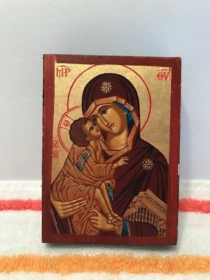 Religious Hand Made Icon Madonna with Infant  Painted on Wood Certificate