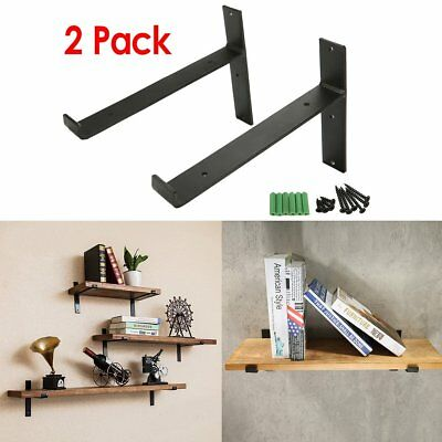 KINGSO 2 Pack - 8''L x 6''H Handcrafted Forged Black Iron Shelf Brackets, Indust