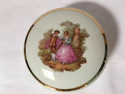 Collectible Vintage Porcelain Limoges France Round White Trinket/Pill Box