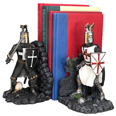 Decorative Crusader Knights in Full Armor Bookends Set Collectible Figurine 7.5""