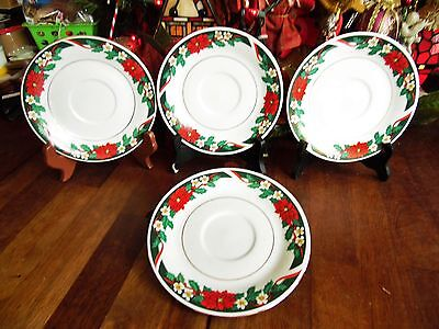 "Set Of 4 Pc Christmas Deck The Halls Tienshan Poinsettia Saucers 6""r"