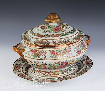 Large Antique Chinese Famille Rose Porcelain Soup Tureen With Underplate Platter