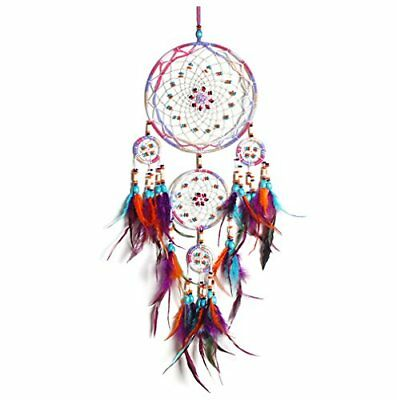 """Large Dream Catcher Colorful Feathers Wall Home Office Hanging Ornament 31"""" NEW!"""