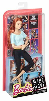 NEW! Barbie Made To Move Barbie Doll Light Blue Shirt And Red Hair FREE SHIPPING