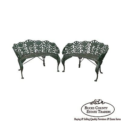 Laurel Pattern Antique Pair of Cast Iron Garden Benches (after Coalbrookdale)