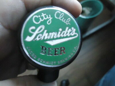 Extremely Rare Antique Schmidt 's City Club Ball Knob Beer Tap Handle Beautiful