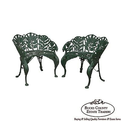 Laurel Pattern Antique Pair of Cast Iron Garden Benches-after Coalbrookdale (B)