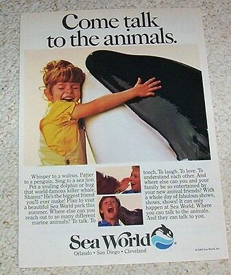 1985 ad page -Sea World- Shamu Killer Whale Cute GIRL San Diego Orlando PRINT AD