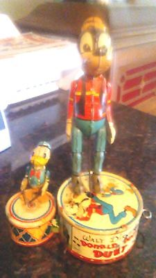 """Old Vintage Disney Marx Tin Toy Wind Up Donald Duck Duet 10"""" Tall 1946 Working"""