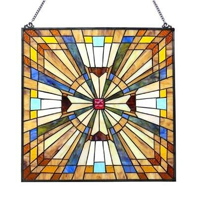 Stained Glass Chloe Lighting Mission Window Panel CH1P004AM24-GPN 24 Inches New