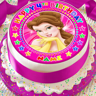 Princess Belle Pink Personalised 7.5 Inch Precut Edible Cake Topper Decoration