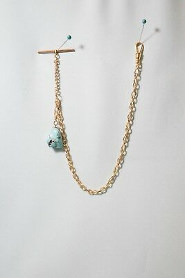 Old Antique Vintage Pocket Watch FOB Gold Chain w/ Large Turquoise Stone T-Bar