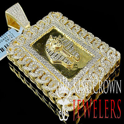 Genuine Diamond Miami Cuban Egyptian Pharaoh King Tut Pendant 10K Gold Finish
