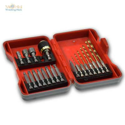 Sechskant-Bohrer Bit & Socket Set 21-teilig, Drill Bit Set Ring Bolt, Bit Holder