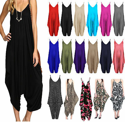 New Women's Ladies V-neck Hareem Summer Beach Harem Jumpsuit Play-suit