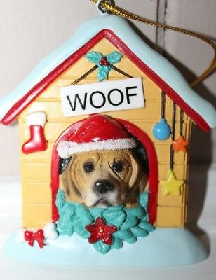 BEAGLE in CHRISTMAS DOG HOUSE Resin Ornament