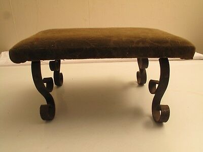 Antique Wood Wrought Iron Green Velvet Floral Footstool Foot Stool Victorian