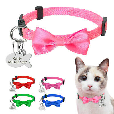 Small Dog Cat Collar Quick Release Bowtie Breakaway With Personalized Name Tags