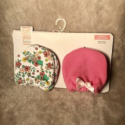New Baby Girl 2pk Mittens Just One You By Carter's Floral Pink Newborn Infant