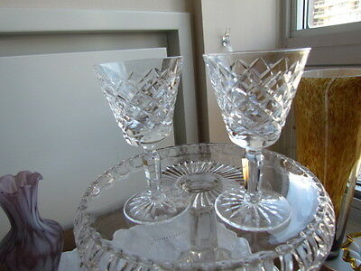 Vintage Waterford Tyrone Crystal Pair Lot Shots Sherry Cordial Glasses Diamond C