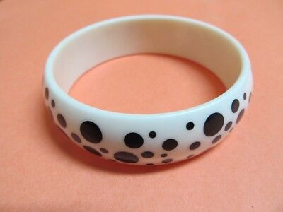 Vintage Polka Dots  Black & White Bangle Bracelet Lucite Retro & Earrings