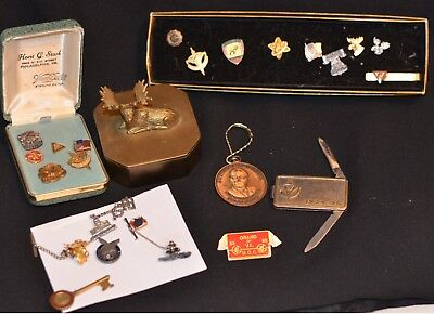 VTG MOOSE LODGE  Fraternal Lapel Pins Lot Knife Tie Clips Brass Moose Box