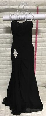 Womens Sweetheart Mermaid Appliques Long Evening Dress Formal Prom Gowns, Black