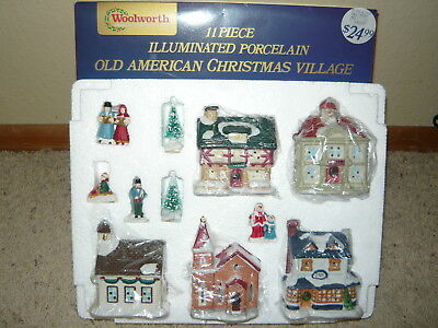 Vtg Woolworth 11 Pc Illuminated Porcelain Old American Mini Christmas Village