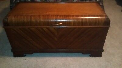 """Antique Cedar Chest made by Ed Roos Co. Waterfall 46.5"""" long by 18"""" deep"""