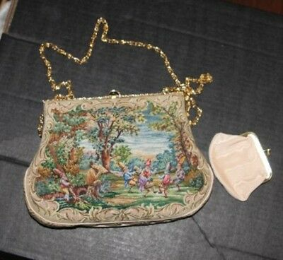 Antique - Finely Stitched French Vintage Tapestry Clutch w/ change purse RARE