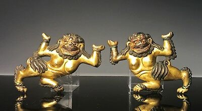 Nice Pair Of Antique Tibetan Chinese Gilt Bronze Models Of Lions