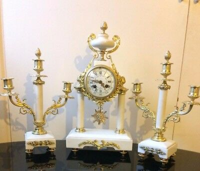Antique French mantel clock and garniture set by Japy Freres 1880 working order