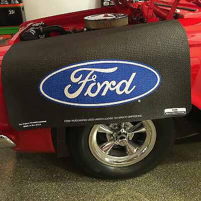 Ford Blue Oval Logo Fender Gripper Black Cushion Protective Fender Cover: FG2101