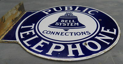 Authentic rare porcelain vintage public telephone Bell system metal sign NO RES