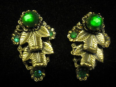 Antique Vintage Pair Of Victorian Dress Shoe Collar Clips-Green Settings