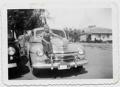 Vintage Old 1940's Photo of a Cute Little Boy on Big Car 1947 California Plates