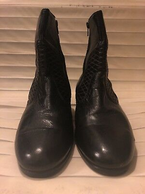 VISCONTI Plain Toe 210026 Black Leather Zippered Ankle Boots size 29.5