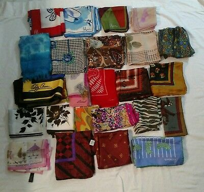 LOT 24 Vintage Silk Nylon Scarves Signed/Designer Vera Halston Echo Cassini +