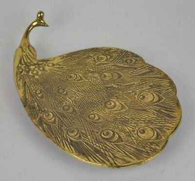Vtg BRASS Peacock METAL Trivet KITCHEN Plate FOOTED Fan FEATHER Tail MID Century