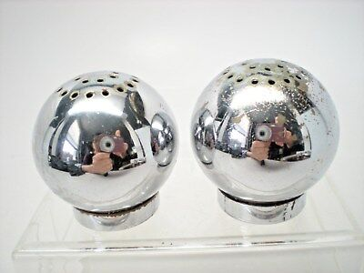Vintage Art Deco Style Chase USA Chrome Salt & Pepper Spheres Russell Wright